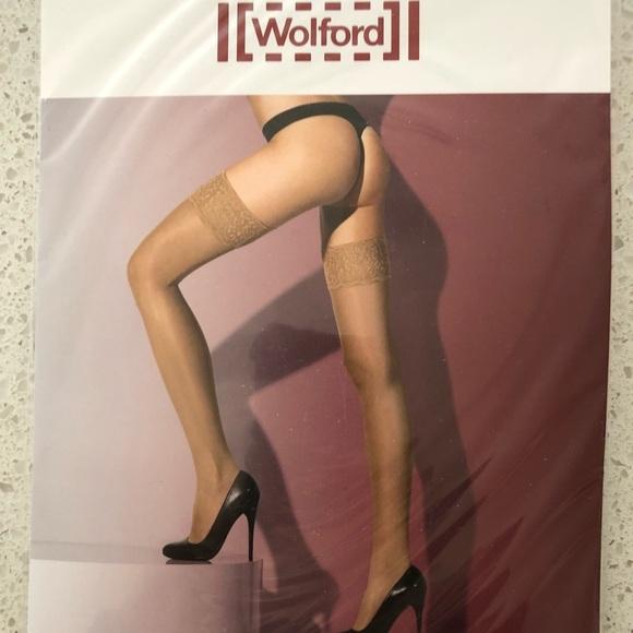 b2fe40abd76 Wolford NWT Lace 15 Stay-Up BLACK medium no garter